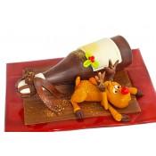 Шоколадови фигурки елен с бутилка