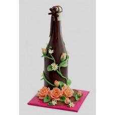 Шоколадова бутилка с цветя, голяма