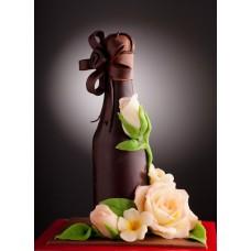 Шоколадова бутилка с цветя