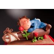 Шоколадова бутилка с цветя и фигурка